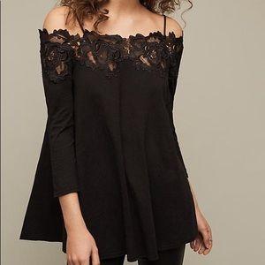 Black off-the-shoulder Anthropologie Shirt
